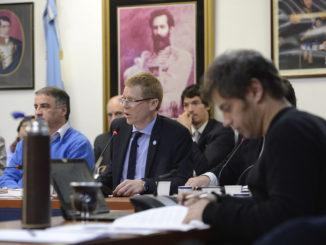 Juan Curutchet durante su exp osición ante los diputados